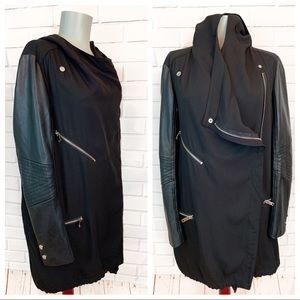 Zara • Black Leather Zipper Jacket